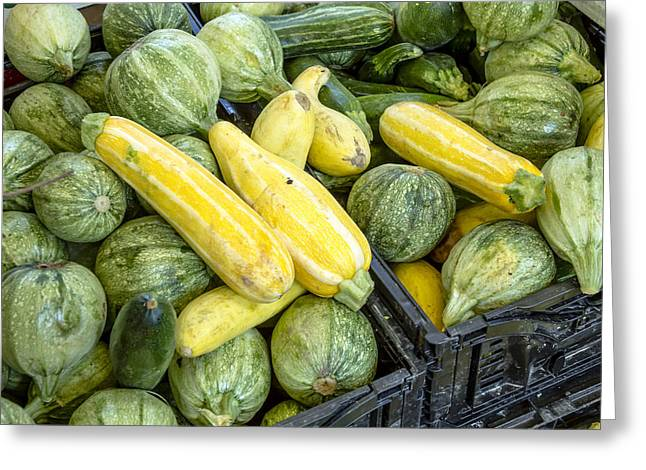 Fresh Squash At The Market Greeting Card by Teri Virbickis