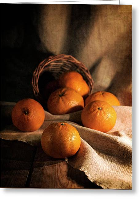 Fresh Tangerines In Brown Basket Greeting Card by Jaroslaw Blaminsky