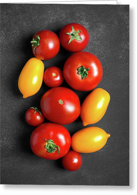 Fresh Tomatoes At The Center Of Chalkboard  Greeting Card by Vadim Goodwill