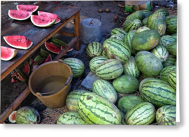 Watermelon Photographs Greeting Cards - Fresh watermelons for sale Greeting Card by Sami Sarkis