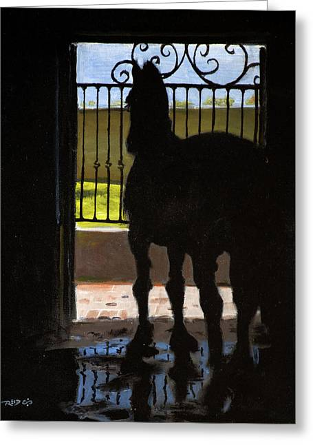 Friesian Silhouette Greeting Card by Christopher Reid