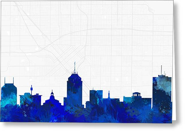 Fresno Cityscape And Streetmap Blue Skyline Greeting Card