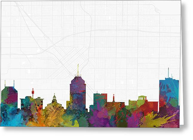 Fresno Cityscape And Streetmap Skyline Greeting Card