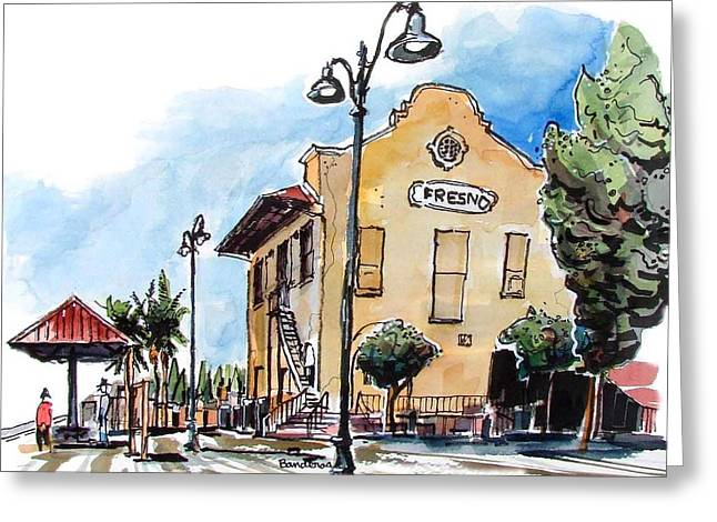 Greeting Card featuring the painting Old Fresno Depot by Terry Banderas