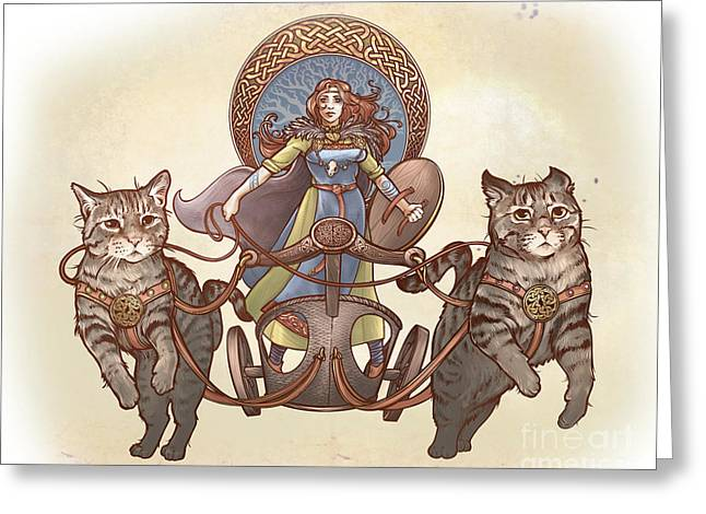 Freya And Her Cat Chariot-garbed Version Greeting Card
