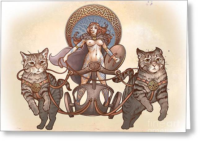 Freya And Her Cat Chariot-nude Version Greeting Card