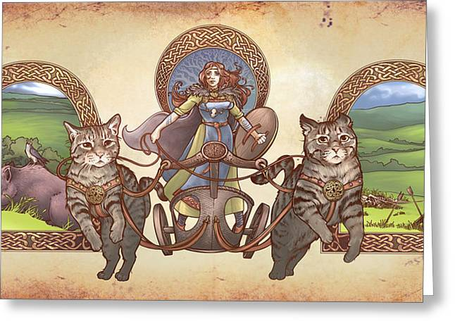 Freya Driving Her Cat Chariot - Triptic Garbed Version Greeting Card