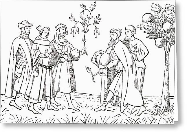Friar Oderic Of Pordenone Holding Greeting Card by Vintage Design Pics