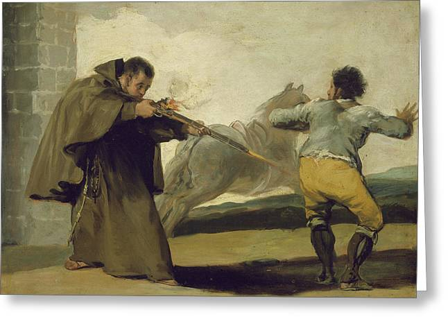 Friar Pedro Shoots El Maragato As His Horse Runs Off Greeting Card by Goya