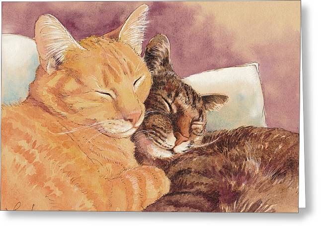 Frick And Frack Take A Nap Greeting Card by Tracie Thompson