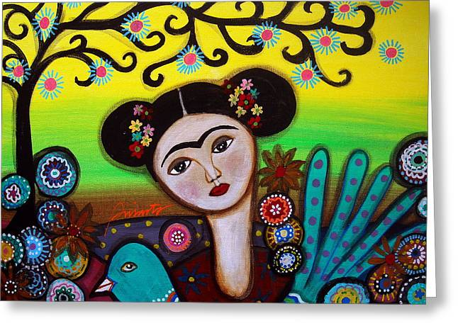 Greeting Card featuring the painting Frida And Bird by Pristine Cartera Turkus