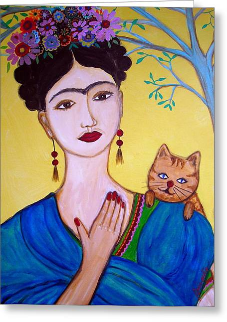 Frida And Her Cat Greeting Card by Pristine Cartera Turkus