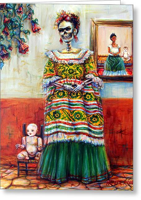 Greeting Card featuring the painting Frida And Her Doll by Heather Calderon