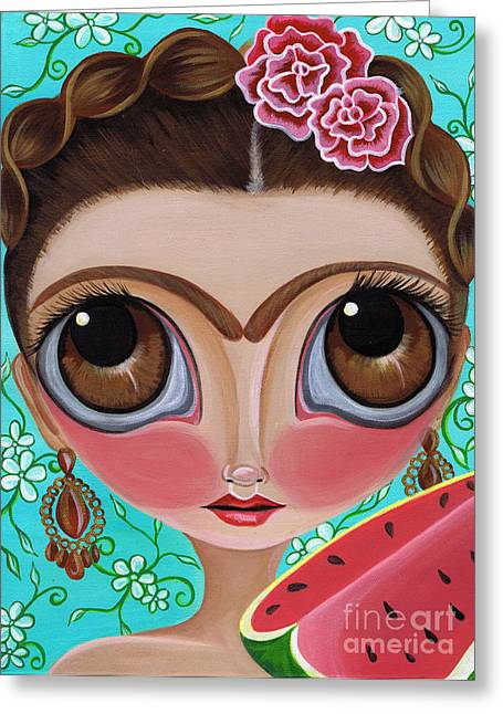 Frida And The Watermelon Greeting Card