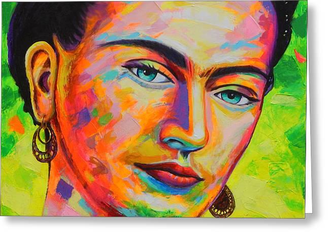 Frida Greeting Card by Angel Ortiz