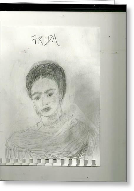 Frida Greeting Card by Anne-Elizabeth Whiteway