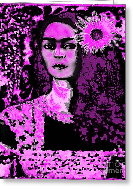 Frida In Frida Pink Greeting Card by Fania Simon