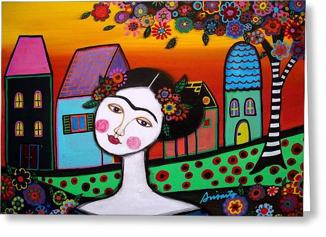 Frida In Town Greeting Card by Pristine Cartera Turkus