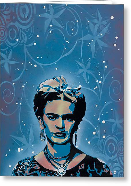 Stencil Spray Greeting Cards - Frida Greeting Card by Iosua Tai Taeoalii
