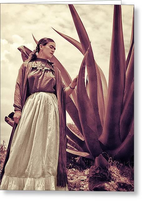 Frida Kahlo Greeting Card by Carlos Lazurtegui