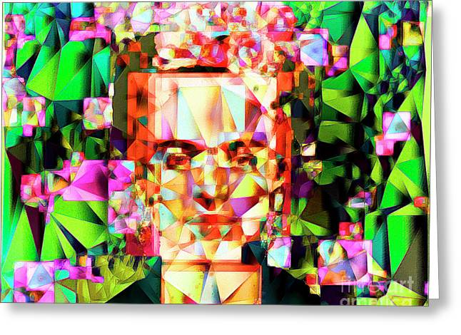 Frida Kahlo In Abstract Cubism 20170326 V3 Horizontal Greeting Card by Wingsdomain Art and Photography