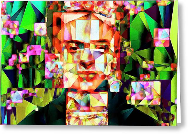 Frida Kahlo In Abstract Cubism 20170326 V3 Square Greeting Card by Wingsdomain Art and Photography