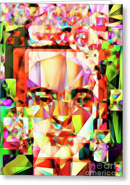 Frida Kahlo In Abstract Cubism 20170326 V4 Greeting Card by Wingsdomain Art and Photography