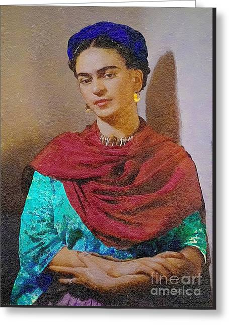 Frida Kahlo Greeting Card by John  Kolenberg