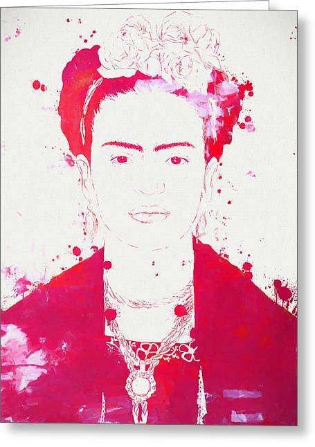 Frida Kahlo Paint Splatter Greeting Card by Dan Sproul