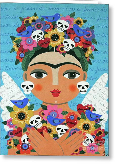 Frida Kaho Mother Earth Angel Greeting Card by LuLu Mypinkturtle