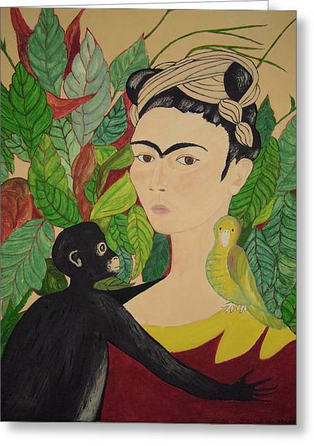 Greeting Card featuring the painting Frida With Monkey And Bird by Stephanie Moore