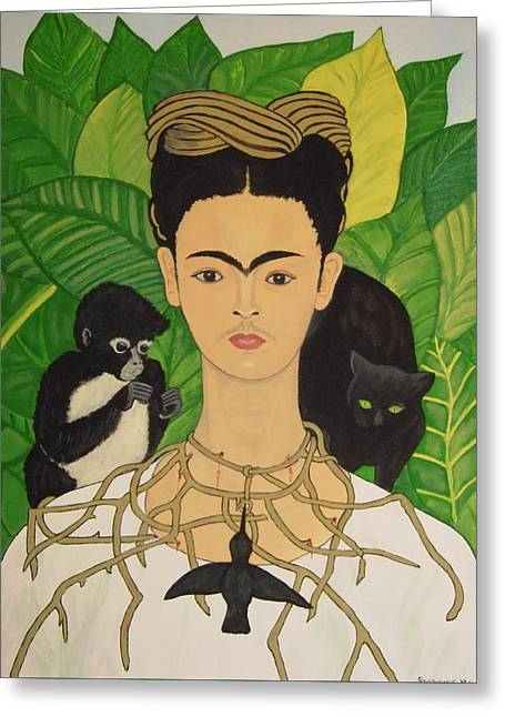 Greeting Card featuring the painting Frida With Monkey And Cat by Stephanie Moore