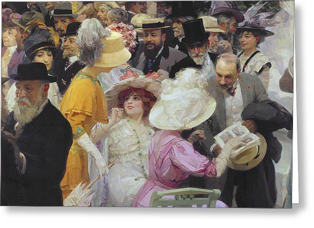 Friday At The French Artists Salon Greeting Card by Jules Alexandre Grun