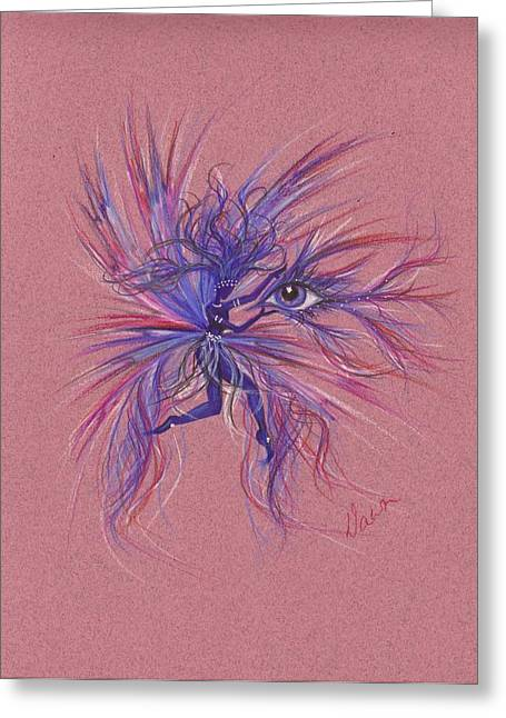 Greeting Card featuring the drawing Friday Blue by Dawn Fairies