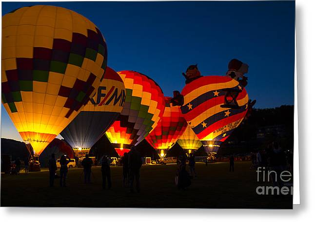 Friday Night At The Quechee Balloon Festival Greeting Card