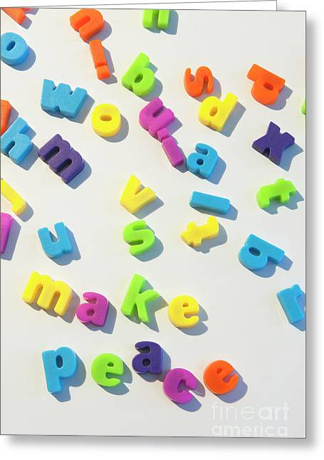 Fridge Magnet Letters Spell Make Peace Greeting Card