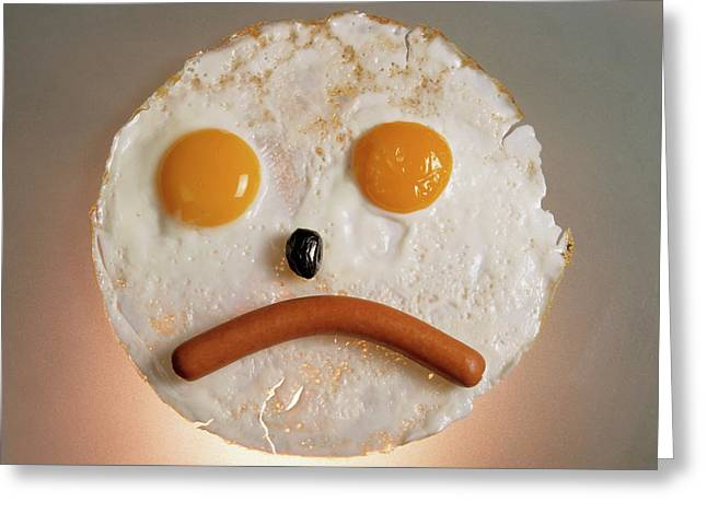 Fried Breakfast Of Eggs And Sausage Made Into A Frowning Face Greeting Card by Sami Sarkis