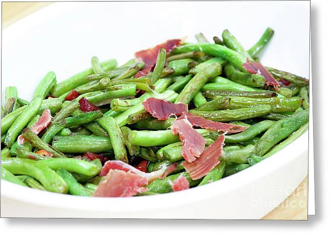 Fried Green Beans With Ham Greeting Card by Michal Boubin