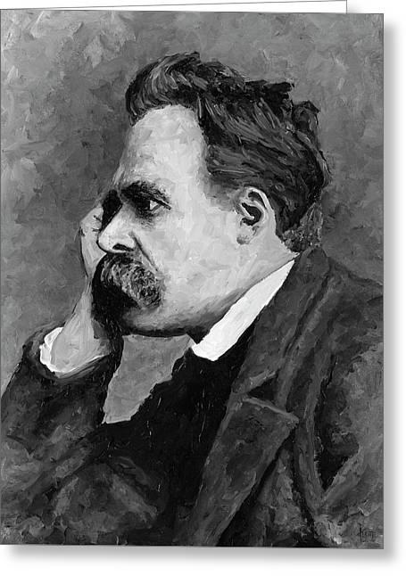 Friedrich Nietzsche Greeting Card by Christian Klute