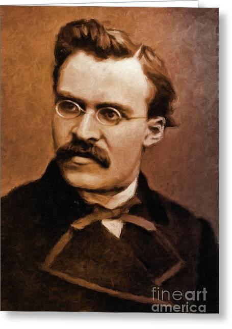 Friedrich Nietzsche, Philosopher By Mary Bassett Greeting Card by Mary Bassett