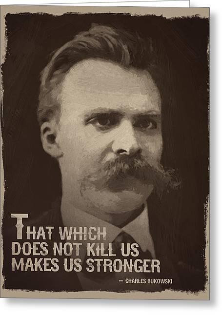 Friedrich Nietzsche Quote Greeting Card by Afterdarkness