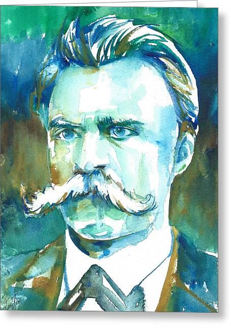 Friedrich Nietzsche Watercolor Portrait.1 Greeting Card