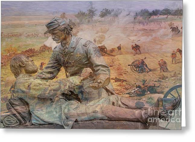 Friend To Friend Monument Gettysburg Battlefield Greeting Card by Randy Steele