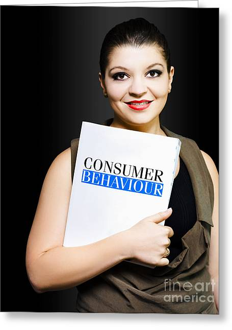Friendly Woman Conducting A Consumer Survey Greeting Card