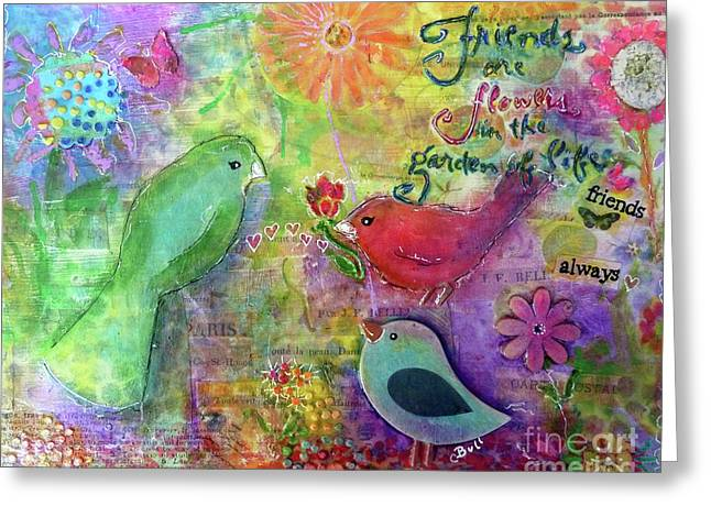 Greeting Card featuring the painting Friends Always Together by Claire Bull