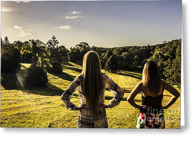 Friends Enjoying A Sunshine Coast Sunset Greeting Card by Jorgo Photography - Wall Art Gallery