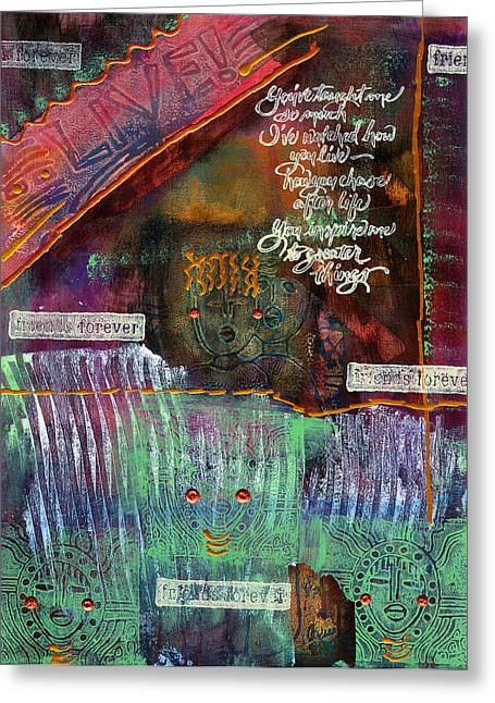 Greeting Card featuring the mixed media Friends Forever by Angela L Walker