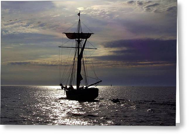 Friends Good Will Tall Ship Silhouette Greeting Card by Richard Gregurich