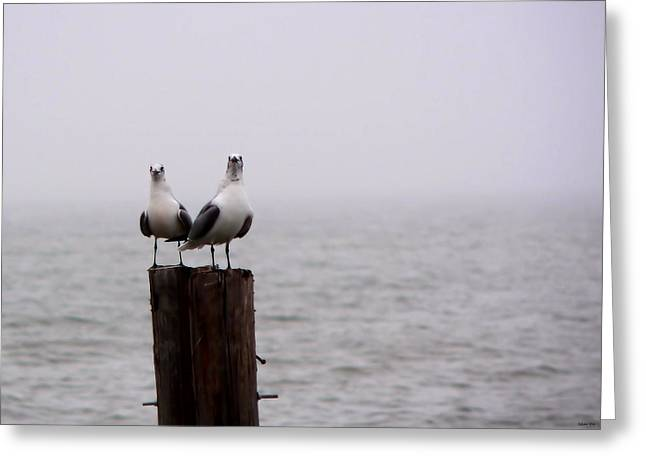Friends In The Fog Greeting Card