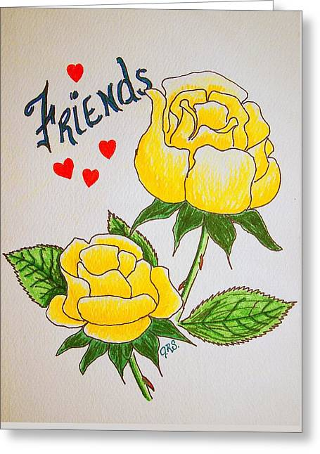 Greeting Card featuring the drawing Friends by J R Seymour